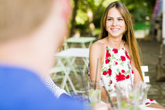 Beautiful woman and a handsome man flirting dating Royalty Free Stock Images