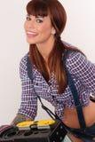 Beautiful Woman Handyman Working Construction Stock Images