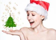 Beautiful woman happy christmas in santa hat tree Stock Photography