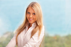 Beautiful woman with a happy smile at home Royalty Free Stock Images