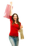 Beautiful woman happy to finish shopping Stock Photography