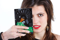Beautiful woman with hard disc Stock Image