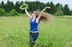 The beautiful  woman has fun Stock Photo