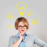 Beautiful woman has an idea.  Decision making process concept Stock Image