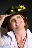 Beautiful woman in a hat. Stock Images