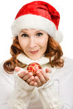 Beautiful woman hat as Santa Royalty Free Stock Photography