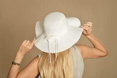 Beautiful woman in a hat Stock Photo