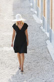 Beautiful Woman in Hat & Black Dress Royalty Free Stock Images