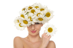 Beautiful woman in the hat of daisies Royalty Free Stock Photo