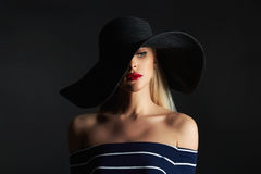 Beautiful woman in hat. fashion beauty girl Royalty Free Stock Photography