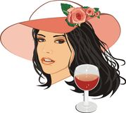 Beautiful woman in a hat with glass of wine Stock Photography