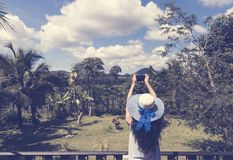 Beautiful Woman In Hat Making Photo Picture Of Tropical Forest From Hotel Balcony Or Terrace Back Rear View Royalty Free Stock Images