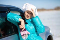 Beautiful woman in hat and mittens Royalty Free Stock Photos