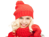 Beautiful woman in hat, muffler and mittens Royalty Free Stock Photography