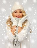 Beautiful woman in hat, muffler and mittens Stock Image