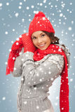Beautiful woman in hat, muffler and mittens Royalty Free Stock Photos