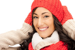 Beautiful woman in hat, muffler and mittens Stock Images
