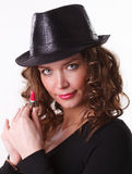 Beautiful woman in  hat with pink lipstick Royalty Free Stock Image