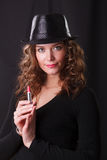 Beautiful woman in  hat with pink lipstick Stock Photography