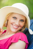 Beautiful woman with hat portrait Royalty Free Stock Photo