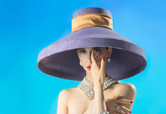Beautiful woman in the hat Stock Photo