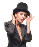 Beautiful woman in hat. Retro fashion. Stock Image