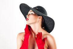 Beautiful woman in a hat Royalty Free Stock Photography