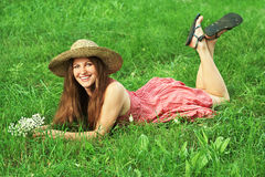 Beautiful woman with hat Royalty Free Stock Images