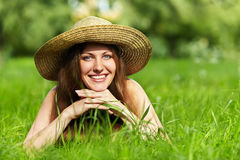 Beautiful woman with hat Royalty Free Stock Photos