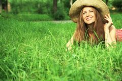 Beautiful woman with hat Stock Photos