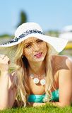 Beautiful woman in hat on summer vacation Royalty Free Stock Image