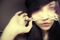 Beautiful woman in a hat and a veil Royalty Free Stock Images