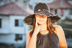 Beautiful woman in hat Stock Photography