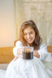 Beautiful woman have coffee Stock Photo