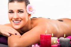 Beautiful woman having a back massage Stock Images