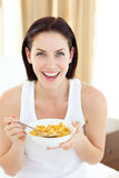 Beautiful woman having breakfast Royalty Free Stock Photos
