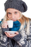 Beautiful woman having cup of coffee Royalty Free Stock Photo