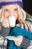 Beautiful woman having cup of coffee Stock Photography