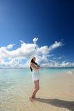Beautiful Woman Having Fun on the Beach stock photography