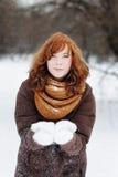 Beautiful woman having fun in winter. Outdoors portrait of young beautiful woman having fun in winter Stock Photos