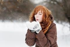 Beautiful woman having fun in winter Stock Photography