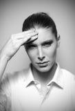 Beautiful woman having headache Stock Photo