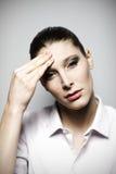 Beautiful woman having headache Stock Photos