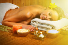 Beautiful woman having massage. Royalty Free Stock Image