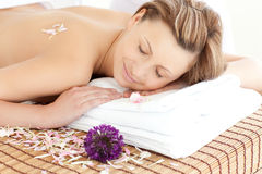 Beautiful woman having a Spa treatment. In a health club Royalty Free Stock Photography