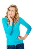 Beautiful woman having strong toothache Stock Image