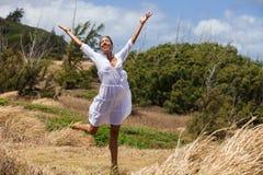 Beautiful Woman in Hawaii daning Royalty Free Stock Photography