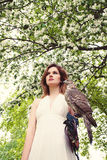 Beautiful Woman with Hawk on Blossom Stock Photos