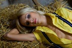 Beautiful woman on hay Stock Photography