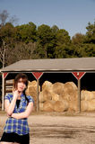 Beautiful Woman and Hay Bales Stock Images